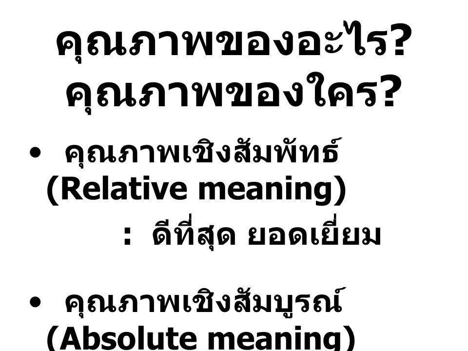 คุณภาพของอะไร ? คุณภาพของใคร ? คุณภาพเชิงสัมพัทธ์ (Relative meaning) : ดีที่สุด ยอดเยี่ยม คุณภาพเชิงสัมบูรณ์ (Absolute meaning) : การเปรียบเทียบกับ มา
