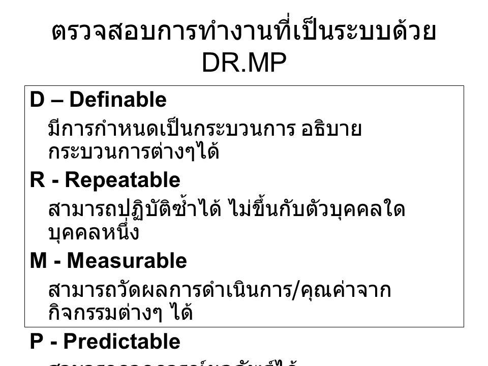 ตรวจสอบการทำงานที่เป็นระบบด้วย DR.MP D – Definable มีการกำหนดเป็นกระบวนการ อธิบาย กระบวนการต่างๆได้ R - Repeatable สามารถปฏิบัติซ้ำได้ ไม่ขึ้นกับตัวบุ