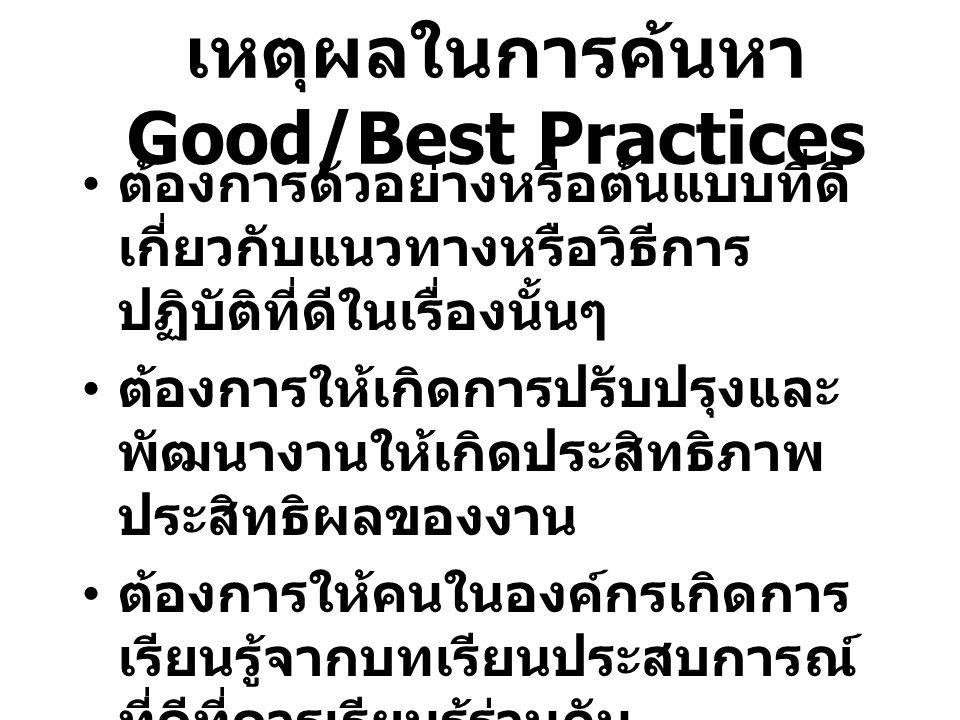 เหตุผลในการค้นหา Good/Best Practices ต้องการตัวอย่างหรือต้นแบบที่ดี เกี่ยวกับแนวทางหรือวิธีการ ปฏิบัติที่ดีในเรื่องนั้นๆ ต้องการให้เกิดการปรับปรุงและ