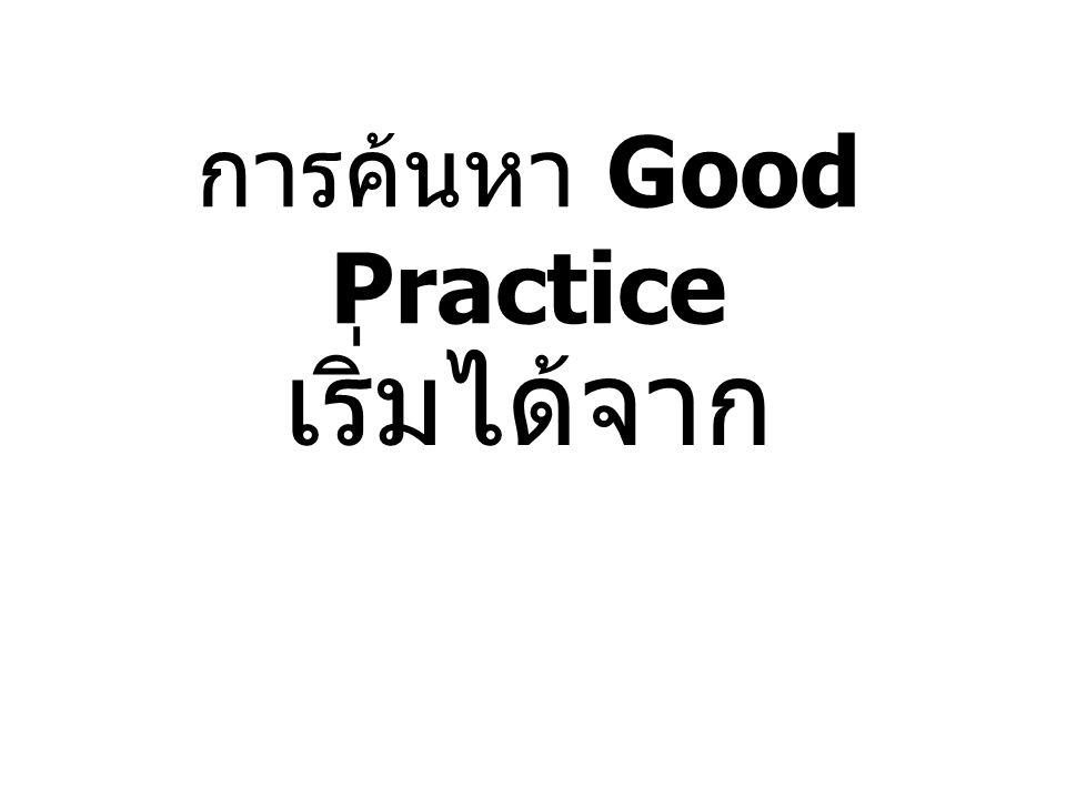 การค้นหา Good Practice เริ่มได้จาก