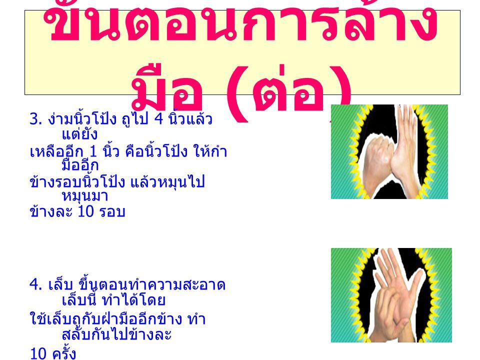 ขั้นตอนการล้าง มือ ( ต่อ ) 3. ง่ามนิ้วโป้ง ถูไป 4 นิ้วแล้ว แต่ยัง เหลืออีก 1 นิ้ว คือนิ้วโป้ง ให้กำ มืออีก ข้างรอบนิ้วโป้ง แล้วหมุนไป หมุนมา ข้างละ 10