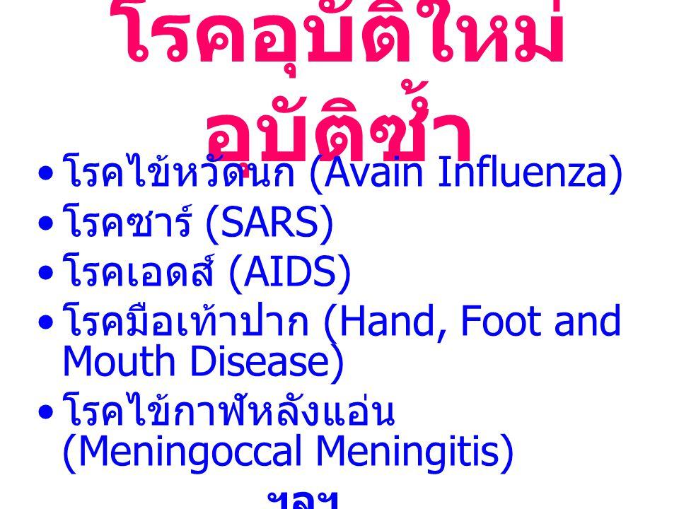 โรคอุบัติใหม่ อุบัติซ้ำ โรคไข้หวัดนก (Avain Influenza) โรคซาร์ (SARS) โรคเอดส์ (AIDS) โรคมือเท้าปาก (Hand, Foot and Mouth Disease) โรคไข้กาฬหลังแอ่น (Meningoccal Meningitis) ฯลฯ