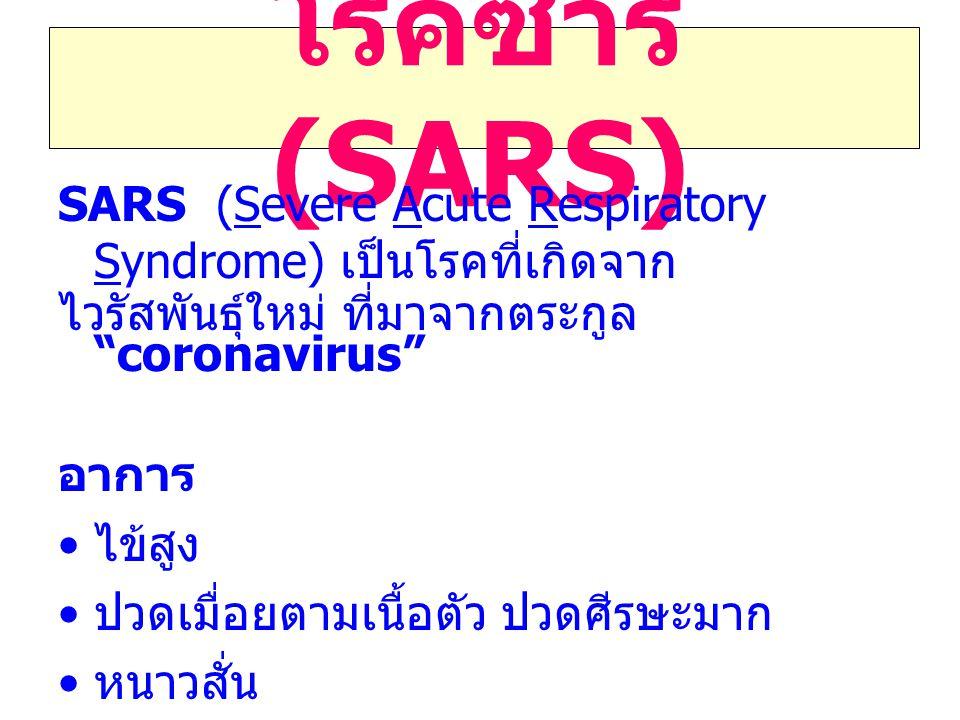 โรคซาร์ (SARS) SARS (Severe Acute Respiratory Syndrome) เป็นโรคที่เกิดจาก ไวรัสพันธุ์ใหม่ ที่มาจากตระกูล coronavirus อาการ ไข้สูง ปวดเมื่อยตามเนื้อตัว ปวดศีรษะมาก หนาวสั่น เจ็บคอ ไอแห้งๆ