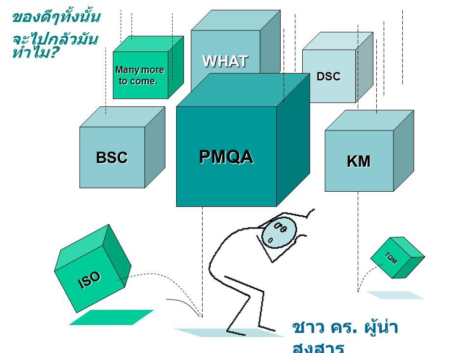BSC DSC Many more to come. ISO TQM 0 0 0.. ชาว คร. ผู้น่า สงสาร ของดีๆทั้งนั้น จะไปกลัวมัน ทำไม ? WHAT PMQA KM