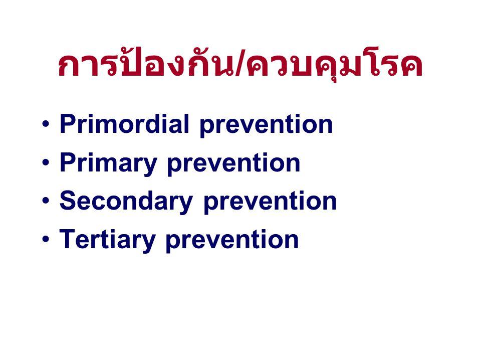 การป้องกัน / ควบคุมโรค Primordial prevention Primary prevention Secondary prevention Tertiary prevention
