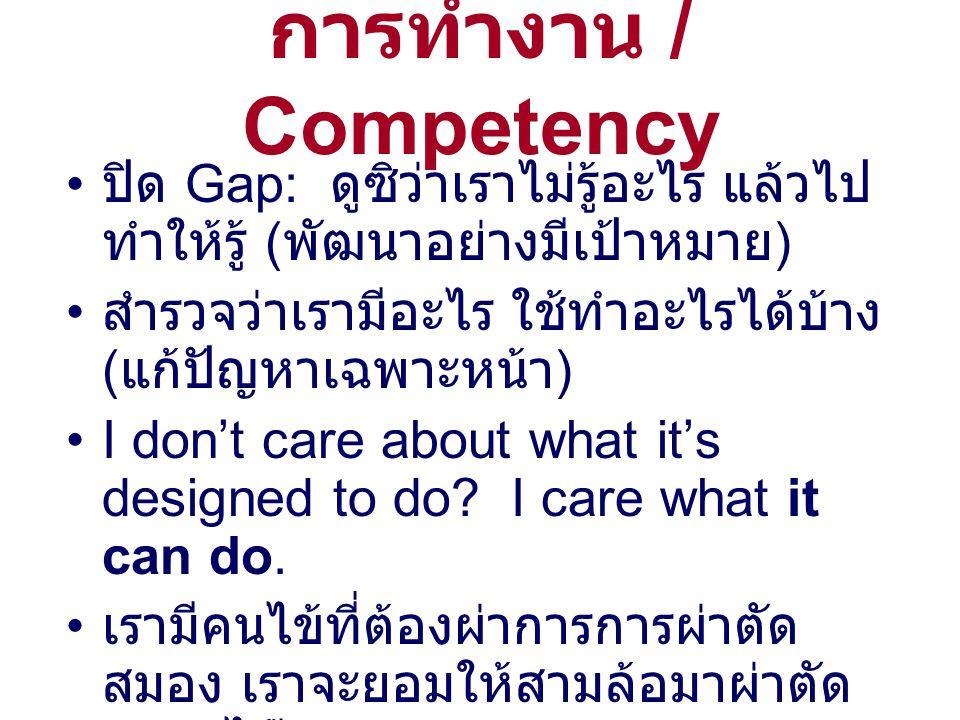 การทำงาน / Competency ปิด Gap: ดูซิว่าเราไม่รู้อะไร แล้วไป ทำให้รู้ ( พัฒนาอย่างมีเป้าหมาย ) สำรวจว่าเรามีอะไร ใช้ทำอะไรได้บ้าง ( แก้ปัญหาเฉพาะหน้า ) I don't care about what it's designed to do.