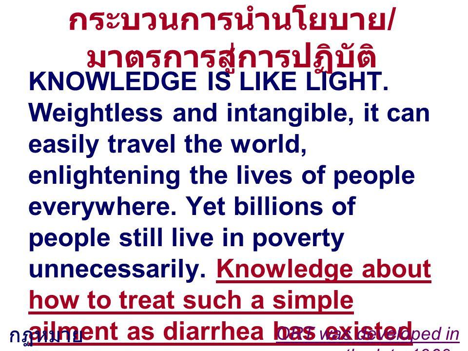 กระบวนการนำนโยบาย / มาตรการสู่การปฏิบัติ KNOWLEDGE IS LIKE LIGHT. Weightless and intangible, it can easily travel the world, enlightening the lives of