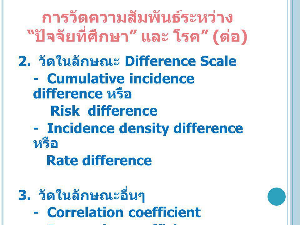 """การวัดความสัมพันธ์ระหว่าง """" ปัจจัยที่ศึกษา """" และ โรค """" ( ต่อ ) 2. วัดในลักษณะ Difference Scale - Cumulative incidence difference หรือ Risk difference"""