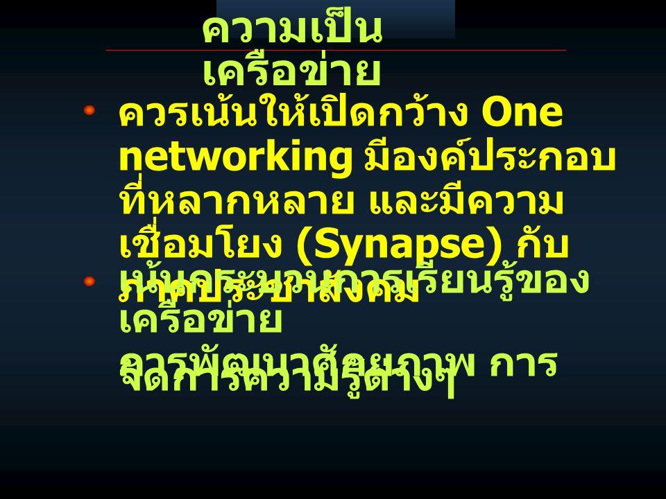 ความเป็น เครือข่าย ควรเน้นให้เปิดกว้าง One networking มีองค์ประกอบ ที่หลากหลาย และมีความ เชื่อมโยง (Synapse) กับ ภาคประชาสังคม เน้นกระบวนการเรียนรู้ของ เครือข่าย การพัฒนาศักยภาพ การ จัดการความรู้ต่างๆ