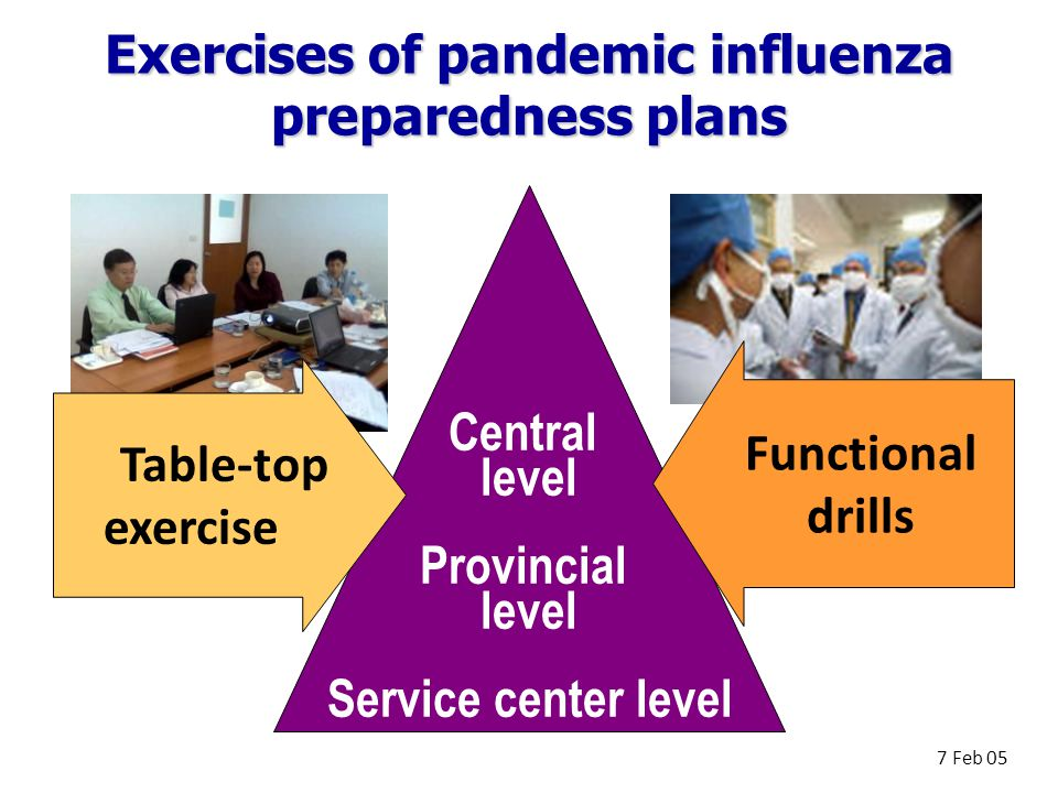 Exercises of pandemic influenza preparedness plans Central level Provincial level Service center level Functional drills 7 Feb 05 Table-top exercise