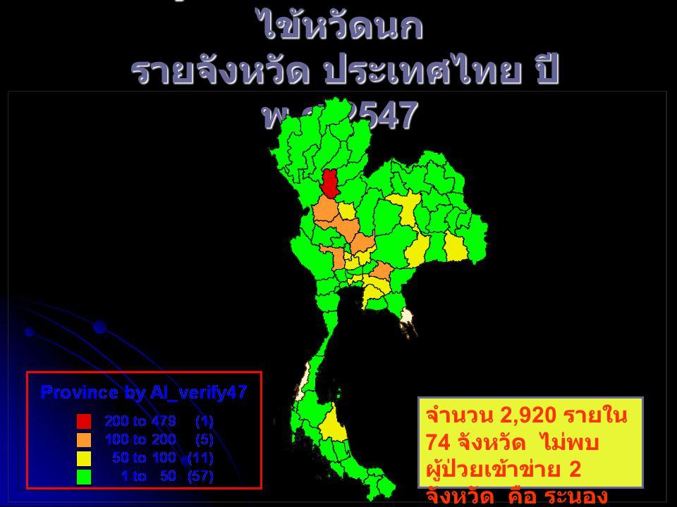 จำนวนผู้ป่วยที่เข้าระบบคัดกรองโรค ไข้หวัดนก รายจังหวัด ประเทศไทย ปี พ. ศ.2547 จำนวน 2,920 ราย ใน 74 จังหวัด ไม่ พบผู้ป่วยเข้าข่าย 2 จังหวัด คือ ระนอง