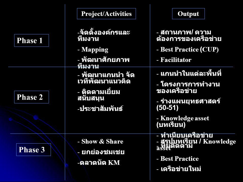 Phase 1 Phase 3 Phase 2 - จัดตั้งองค์กรและ ทีมงาน - Mapping - พัฒนาศักยภาพ ทีมงาน Project/ActivitiesOutput - พัฒนาแกนนำ จัด เวทีพัฒนาแนวคิด - ติดตามเย
