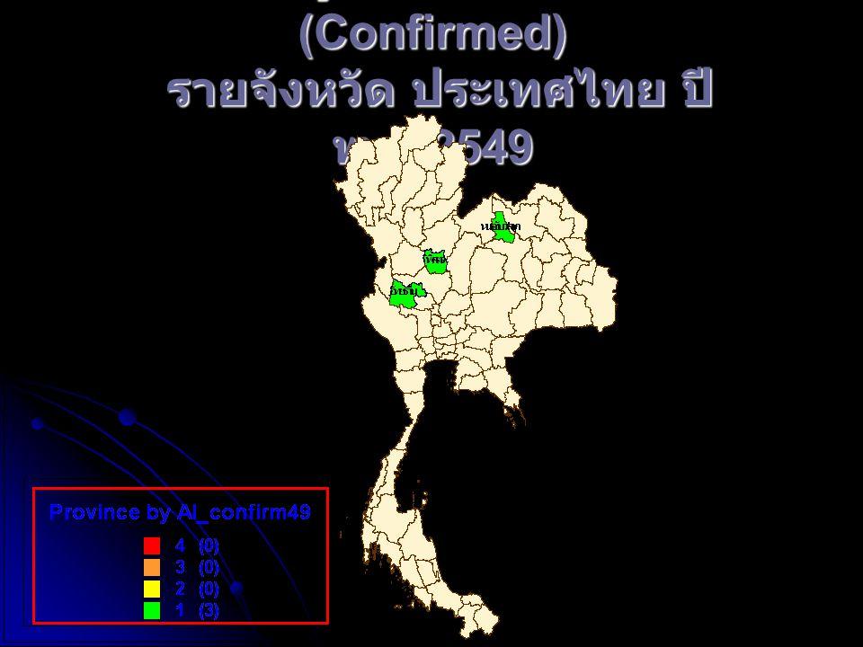 จำนวนผู้ป่วยโรคไข้หวัดนก (Confirmed) รายจังหวัด ประเทศไทย ปี พ. ศ.2549