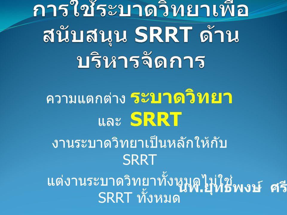 ความแตกต่าง ระบาดวิทยา และ SRRT งานระบาดวิทยาเป็นหลักให้กับ SRRT แต่งานระบาดวิทยาทั้งหมดไม่ใช่ SRRT ทั้งหมด นพ. ยุทธพงษ์ ศรีมงคล