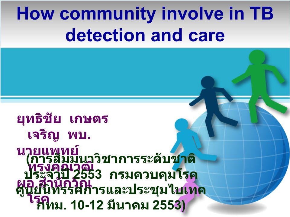 How community involve in TB detection and care ยุทธิชัย เกษตร เจริญ พบ. นายแพทย์ ทรงคุณวุฒิ ผอ. สำนักวัณ โรค ( การสัมมนาวิชาการระดับชาติ ประจำปี 2553