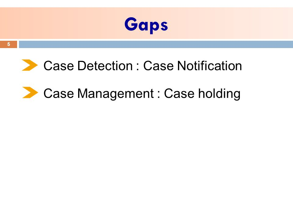 Gaps 5 Case Detection : Case Notification Case Management : Case holding