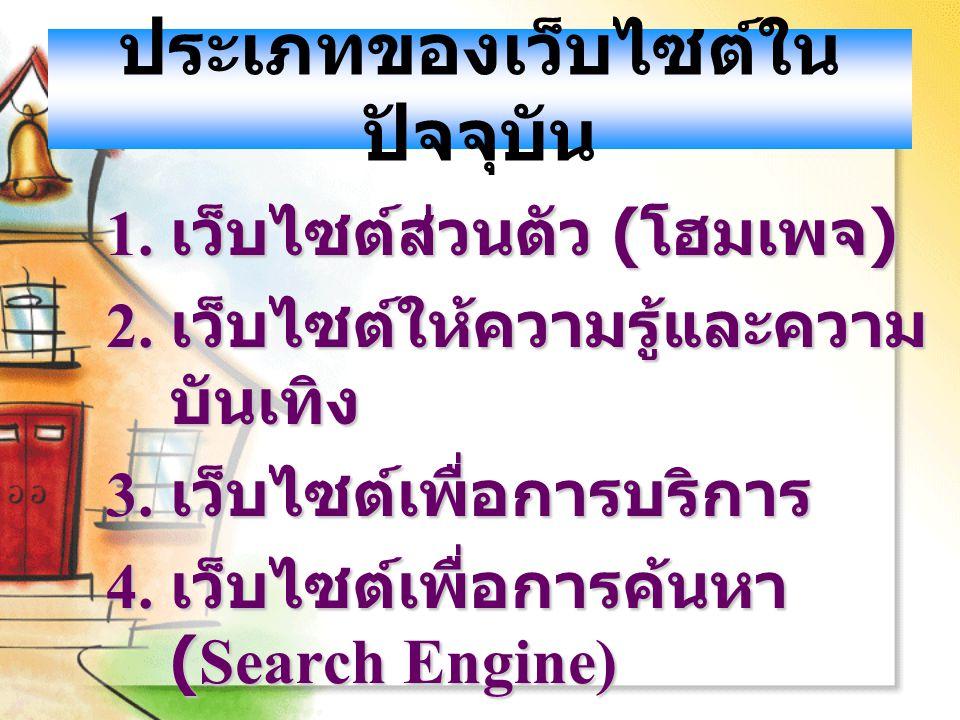 ประเภทของเว็บไซต์ใน ปัจจุบัน 1. เว็บไซต์ส่วนตัว ( โฮมเพจ ) 2. เว็บไซต์ให้ความรู้และความ บันเทิง 3. เว็บไซต์เพื่อการบริการ 4. เว็บไซต์เพื่อการค้นหา (Se