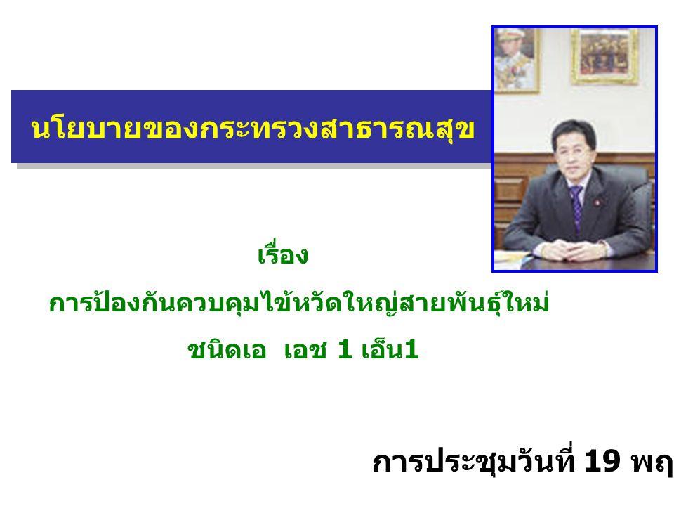 นโยบายของกระทรวงสาธารณสุข เรื่อง การป้องกันควบคุมไข้หวัดใหญ่สายพันธุ์ใหม่ ชนิดเอ เอช 1 เอ็น1 การประชุมวันที่ 19 พฤษภาคม 2552