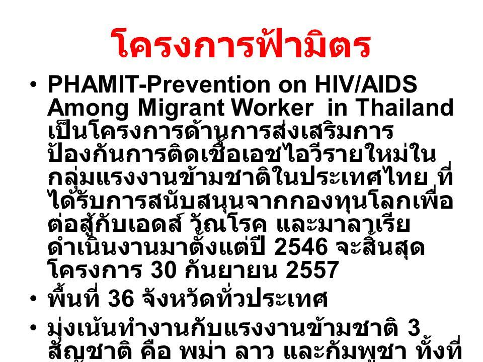 โครงการฟ้ามิตร PHAMIT-Prevention on HIV/AIDS Among Migrant Worker in Thailand เป็นโครงการด้านการส่งเสริมการ ป้องกันการติดเชื้อเอชไอวีรายใหม่ใน กลุ่มแรงงานข้ามชาติในประเทศไทย ที่ ได้รับการสนับสนุนจากกองทุนโลกเพื่อ ต่อสู้กับเอดส์ วัณโรค และมาลาเรีย ดำเนินงานมาตั้งแต่ปี 2546 จะสิ้นสุด โครงการ 30 กันยายน 2557 พื้นที่ 36 จังหวัดทั่วประเทศ มุ่งเน้นทำงานกับแรงงานข้ามชาติ 3 สัญชาติ คือ พม่า ลาว และกัมพูชา ทั้งที่ จดทะเบียนและไม่จดทะเบียน 5 อาชีพคือ ประมง ต่อเนื่องประมง ก่อสร้าง โรงงาน และแรงงานในสวน เกษตร ( เชิงธุรกิจ )
