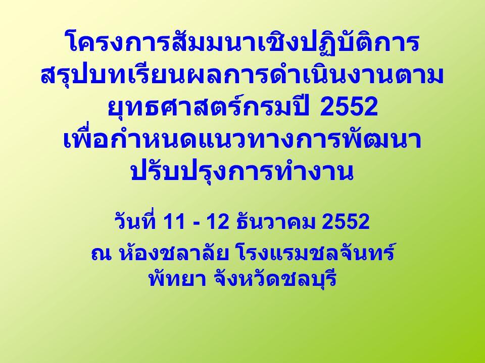 โครงการสัมมนาเชิงปฏิบัติการ สรุปบทเรียนผลการดำเนินงานตาม ยุทธศาสตร์กรมปี 2552 เพื่อกำหนดแนวทางการพัฒนา ปรับปรุงการทำงาน วันที่ 11 - 12 ธันวาคม 2552 ณ ห้องชลาลัย โรงแรมชลจันทร์ พัทยา จังหวัดชลบุรี