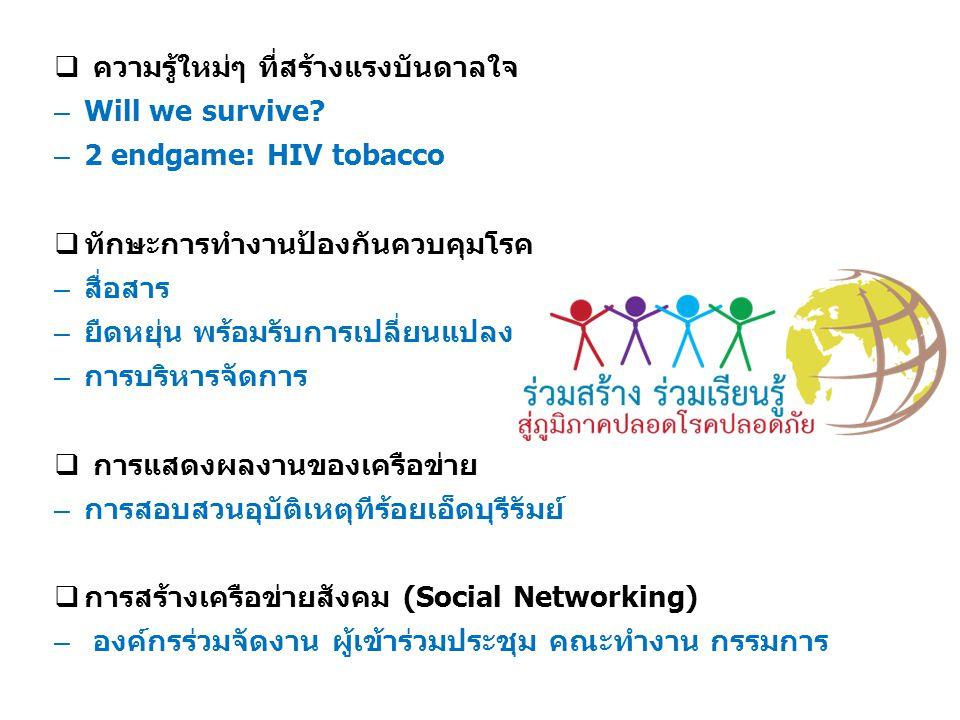  ความรู้ใหม่ๆ ที่สร้างแรงบันดาลใจ – Will we survive? – 2 endgame: HIV tobacco  ทักษะการทำงานป้องกันควบคุมโรค – สื่อสาร – ยืดหยุ่น พร้อมรับการเปลี่ยน