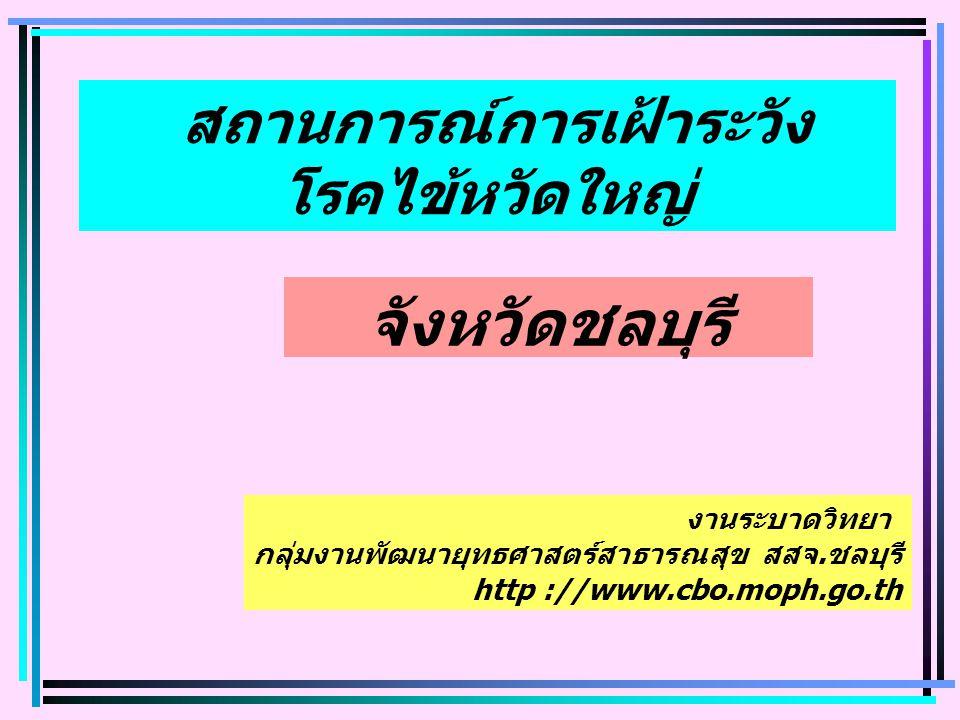 จังหวัดชลบุรี สถานการณ์การเฝ้าระวัง โรคไข้หวัดใหญ่ งานระบาดวิทยา กลุ่มงานพัฒนายุทธศาสตร์สาธารณสุข สสจ.ชลบุรี http ://www.cbo.moph.go.th