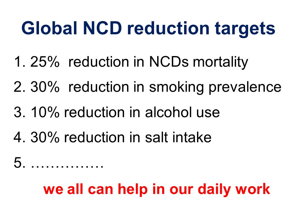 Global NCD reduction targets 1.25% reduction in NCDs mortality 2.30% reduction in smoking prevalence 3.10% reduction in alcohol use 4.30% reduction in