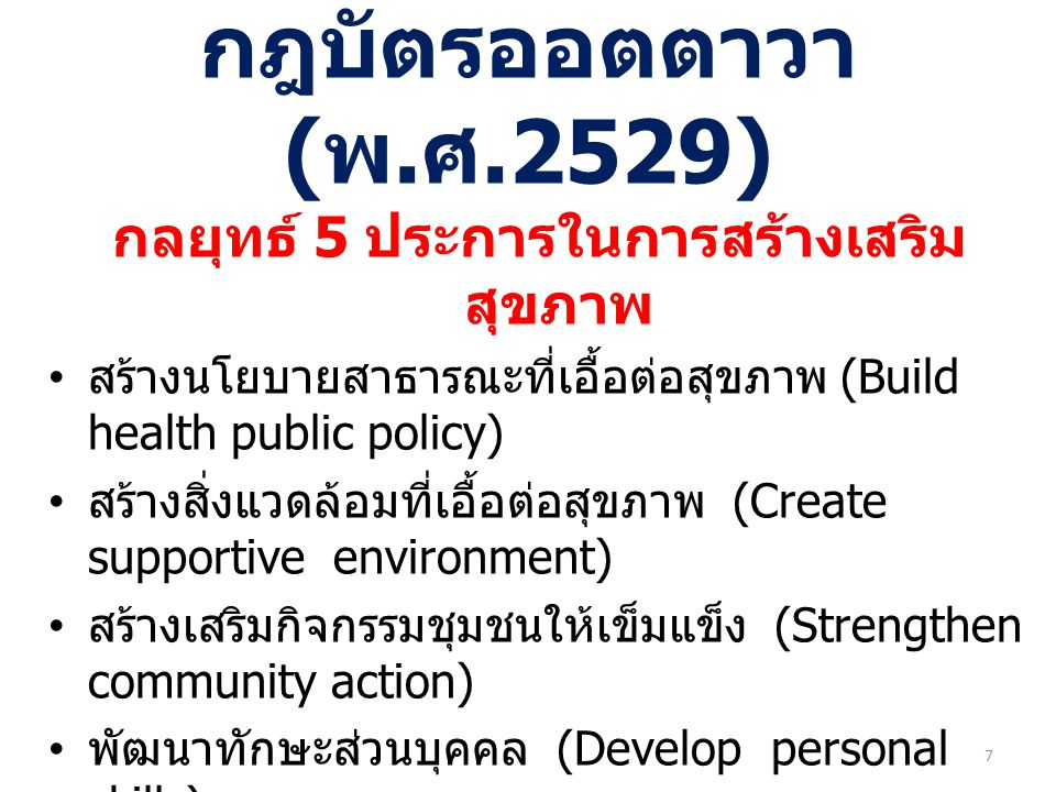 Population groups according to health status Healthy Having Risk behavior Diseases but not seeking care Sick and seek care Health Promotion : population base -Build healthy public policy -Create supportive environment ฯลฯ Health care system : individual base สูบบุหรี่ ดื่มสุรา