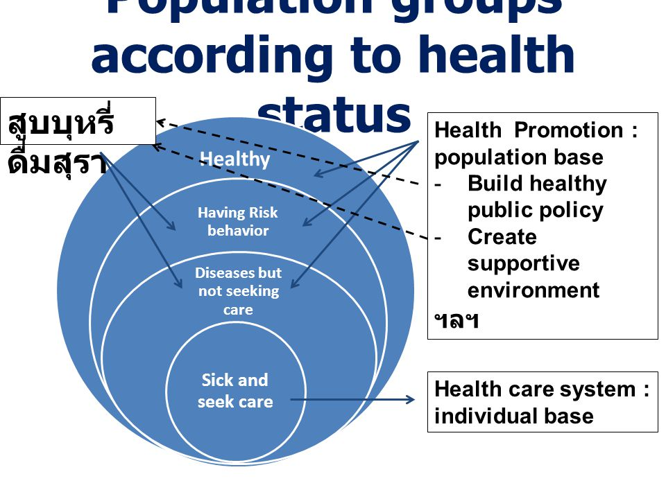 Population groups according to health status Healthy Having Risk behavior Diseases but not seeking care Sick and seek care Health Promotion : populati