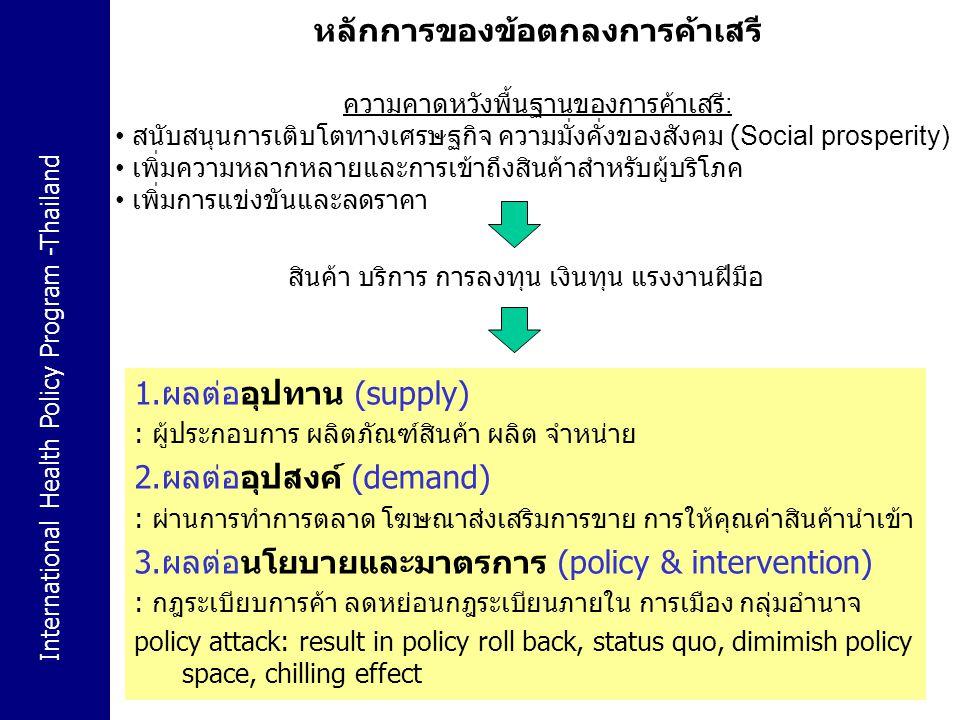 International Health Policy Program -Thailand 24 หลักการของข้อตกลงการค้าเสรี ความคาดหวังพื้นฐานของการค้าเสรี : สนับสนุนการเติบโตทางเศรษฐกิจ ความมั่งคั