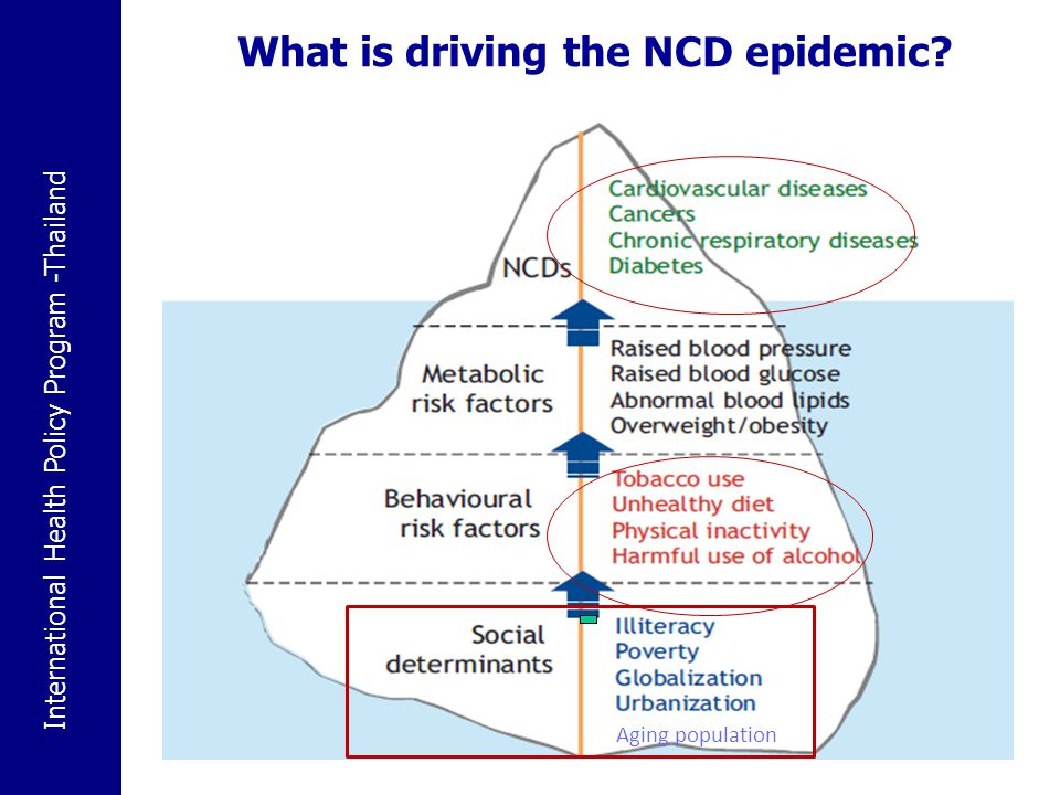 International Health Policy Program -Thailand 8 Poverty contributes to NCDs and NCDs contribute to poverty Ref: WHO Global NCDs report 2010