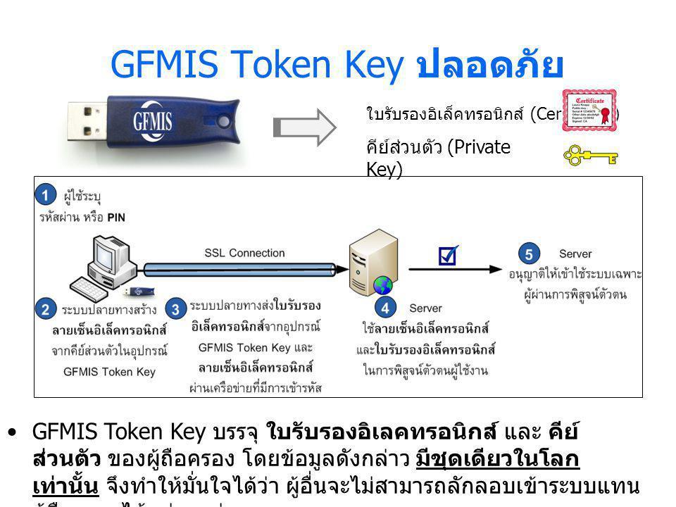 GFMIS Token Key ปลอดภัย GFMIS Token Key บรรจุ ใบรับรองอิเลคทรอนิกส์ และ คีย์ ส่วนตัว ของผู้ถือครอง โดยข้อมูลดังกล่าว มีชุดเดียวในโลก เท่านั้น จึงทำให้