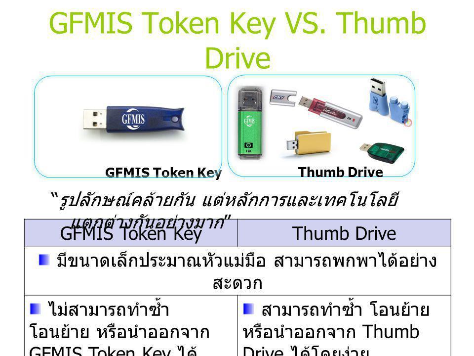 GFMIS Token Key VS. Thumb Drive GFMIS Token Key Thumb Drive GFMIS Token KeyThumb Drive มีขนาดเล็กประมาณหัวแม่มือ สามารถพกพาได้อย่าง สะดวก ไม่สามารถทำซ