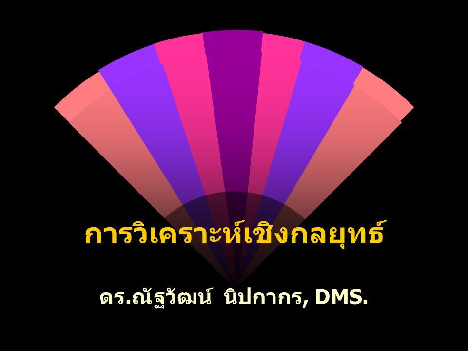 การวิเคราะห์เชิงกลยุทธ์ ดร. ณัฐวัฒน์ นิปกากร, DMS.