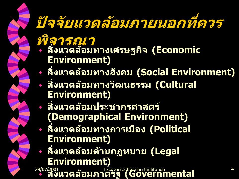 29/07/2001Excellence Training Institution4 ปัจจัยแวดล้อมภายนอกที่ควร พิจารณา  สิ่งแวดล้อมทางเศรษฐกิจ (Economic Environment)  สิ่งแวดล้อมทางสังคม (Social Environment)  สิ่งแวดล้อมทางวัฒนธรรม (Cultural Environment)  สิ่งแวดล้อมประชากรศาสตร์ (Demographical Environment)  สิ่งแวดล้อมทางการเมือง (Political Environment)  สิ่งแวดล้อมด้านกฏหมาย (Legal Environment)  สิ่งแวดล้อมภาครัฐ (Governmental Environment)  สิ่งแวดล้อมทางเทคโนโลยี (Technological Environment)  แนวโน้มทางการแข่งขัน (Competitive Trends)