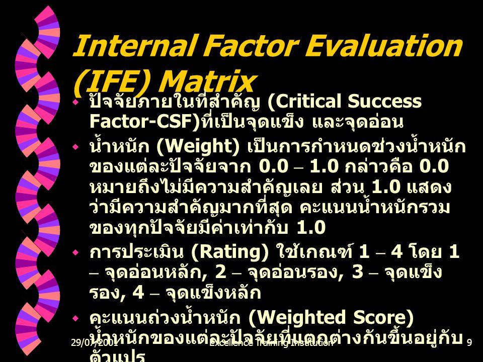 29/07/2001Excellence Training Institution9 Internal Factor Evaluation (IFE) Matrix  ปัจจัยภายในที่สำคัญ (Critical Success Factor-CSF) ที่เป็นจุดแข็ง และจุดอ่อน  น้ำหนัก (Weight) เป็นการกำหนดช่วงน้ำหนัก ของแต่ละปัจจัยจาก 0.0 – 1.0 กล่าวคือ 0.0 หมายถึงไม่มีความสำคัญเลย ส่วน 1.0 แสดง ว่ามีความสำคัญมากที่สุด คะแนนน้ำหนักรวม ของทุกปัจจัยมีค่าเท่ากับ 1.0  การประเมิน (Rating) ใช้เกณฑ์ 1 – 4 โดย 1 – จุดอ่อนหลัก, 2 – จุดอ่อนรอง, 3 – จุดแข็ง รอง, 4 – จุดแข็งหลัก  คะแนนถ่วงน้ำหนัก (Weighted Score) น้ำหนักของแต่ละปัจจัยที่แตกต่างกันขึ้นอยู่กับ ตัวแปร  ค่ารวมของคะแนน เป็นคะแนนรวมจากคะแนน ถ่วงน้ำหนักทั้งหมดของทุกตัวแปร