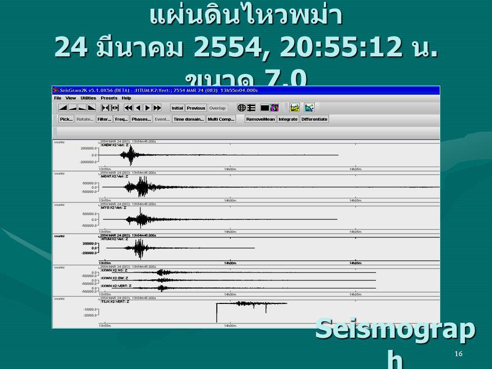 16 แผ่นดินไหวพม่า 24 มีนาคม 2554, 20:55:12 น. ขนาด 7.0 Seismograp h Seismograp h