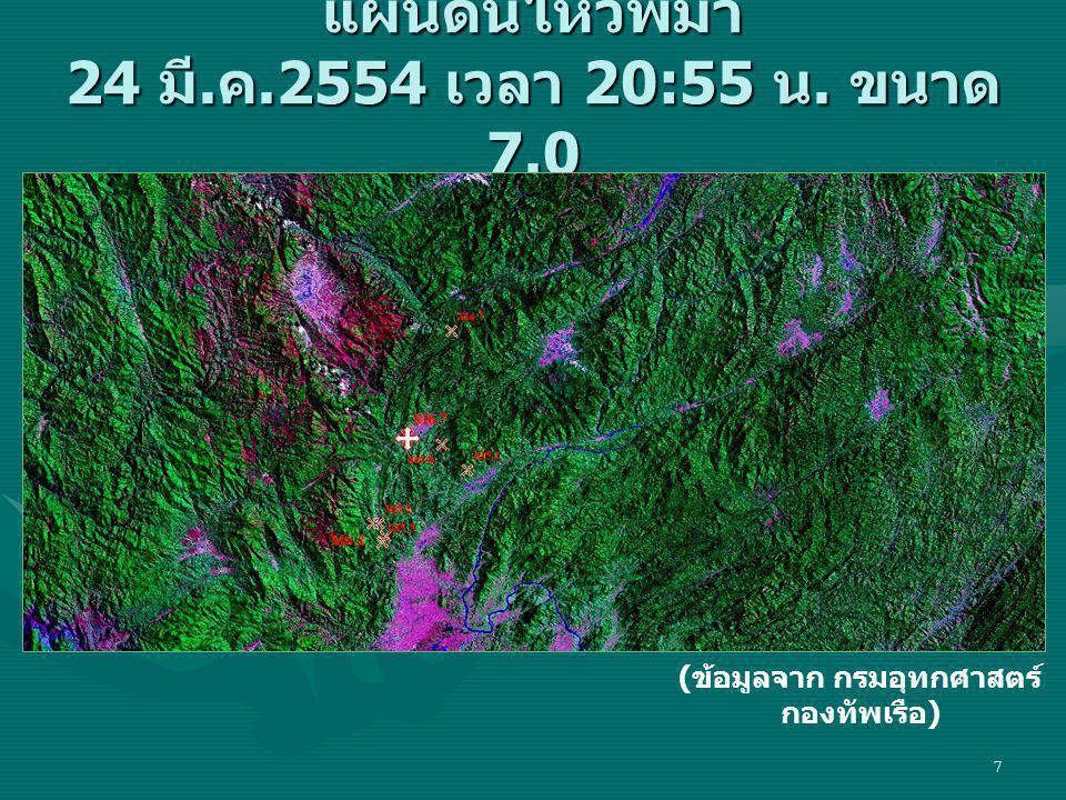 7 แผ่นดินไหวพม่า 24 มี. ค.2554 เวลา 20:55 น. ขนาด 7.0 ( ข้อมูลจาก กรมอุทกศาสตร์ กองทัพเรือ )