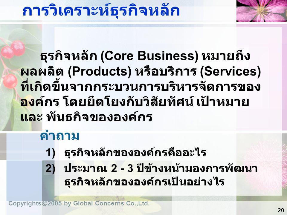 20 การวิเคราะห์ธุรกิจหลัก ธุรกิจหลัก (Core Business) หมายถึง ผลผลิต (Products) หรือบริการ (Services) ที่เกิดขึ้นจากกระบวนการบริหารจัดการของ องค์กร โดย