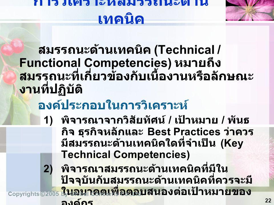 22 การวิเคราะห์สมรรถนะด้าน เทคนิค สมรรถนะด้านเทคนิค (Technical / Functional Competencies) หมายถึง สมรรถนะที่เกี่ยวข้องกับเนื้องานหรือลักษณะ งานที่ปฏิบ