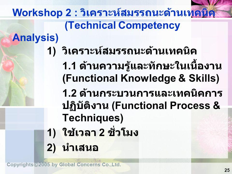 25 Workshop 2 : วิเคราะห์สมรรถนะด้านเทคนิค (Technical Competency Analysis) 1) วิเคราะห์สมรรถนะด้านเทคนิค 1.1 ด้านความรู้และทักษะในเนื้องาน (Functional
