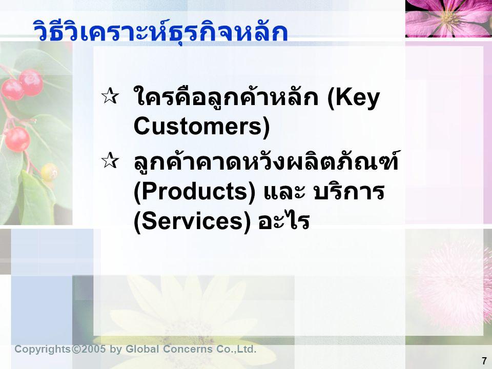 7 วิธีวิเคราะห์ธุรกิจหลัก  ใครคือลูกค้าหลัก (Key Customers)  ลูกค้าคาดหวังผลิตภัณฑ์ (Products) และ บริการ (Services) อะไร Copyrights © 2005 by Globa