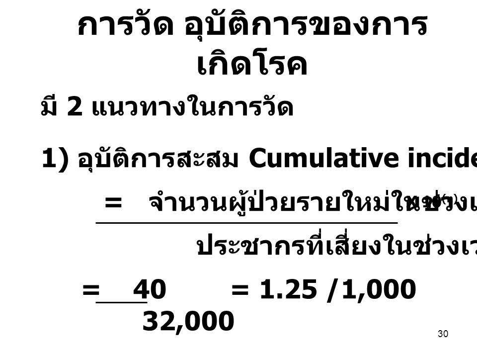 30 มี 2 แนวทางในการวัด 1) อุบัติการสะสม Cumulative incidence = จำนวนผู้ป่วยรายใหม่ในช่วงเวลาที่กำหนด ประชากรที่เสี่ยงในช่วงเวลานั้น = 40 = 1.25 /1,000 32,000 X 10 (n) การวัด อุบัติการของการ เกิดโรค