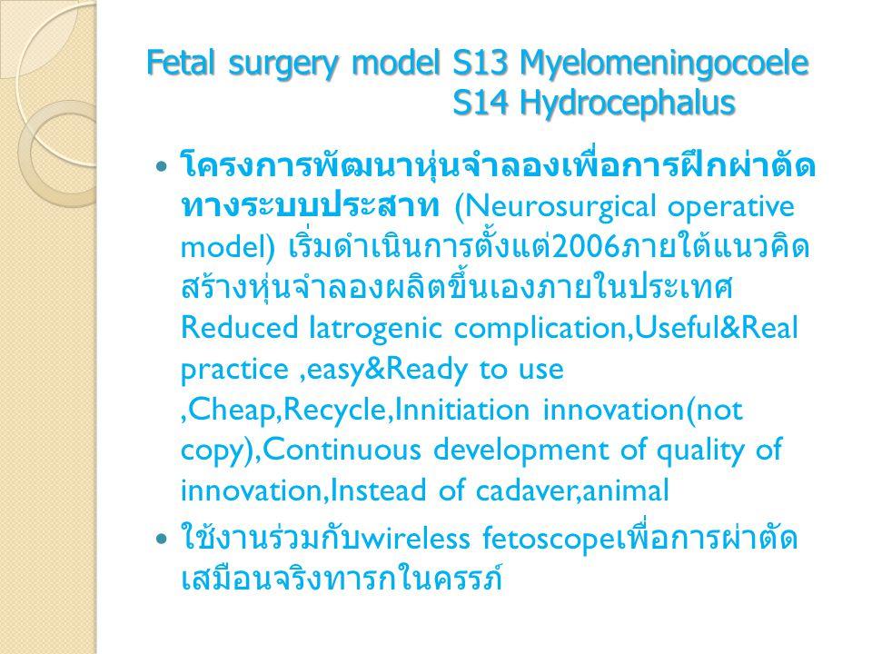 Fetal surgery model S13 Myelomeningocoele S14 Hydrocephalus โครงการพัฒนาหุ่นจำลองเพื่อการฝึกผ่าตัด ทางระบบประสาท (Neurosurgical operative model) เริ่ม