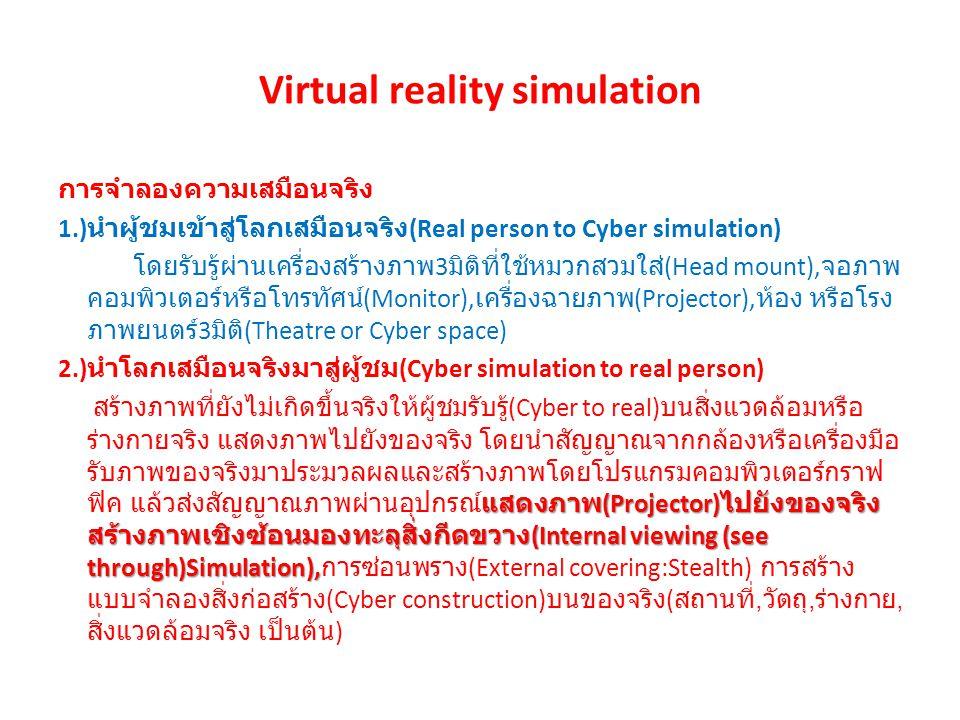 Virtual reality simulation การจำลองความเสมือนจริง 1.) นำผู้ชมเข้าสู่โลกเสมือนจริง (Real person to Cyber simulation) โดยรับรู้ผ่านเครื่องสร้างภาพ 3 มิติที่ใช้หมวกสวมใส่ (Head mount), จอภาพ คอมพิวเตอร์หรือโทรทัศน์ (Monitor), เครื่องฉายภาพ (Projector), ห้อง หรือโรง ภาพยนตร์ 3 มิติ (Theatre or Cyber space) 2.) นำโลกเสมือนจริงมาสู่ผู้ชม (Cyber simulation to real person) แสดงภาพ (Projector) ไปยังของจริง สร้างภาพเชิงซ้อนมองทะลุสิ่งกีดขวาง (Internal viewing (see through)Simulation), สร้างภาพที่ยังไม่เกิดขึ้นจริงให้ผู้ชมรับรู้ (Cyber to real) บนสิ่งแวดล้อมหรือ ร่างกายจริง แสดงภาพไปยังของจริง โดยนำสัญญาณจากกล้องหรือเครื่องมือ รับภาพของจริงมาประมวลผลและสร้างภาพโดยโปรแกรมคอมพิวเตอร์กราฟ ฟิค แล้วส่งสัญญาณภาพผ่านอุปกรณ์แสดงภาพ (Projector) ไปยังของจริง สร้างภาพเชิงซ้อนมองทะลุสิ่งกีดขวาง (Internal viewing (see through)Simulation), การซ่อนพราง (External covering:Stealth) การสร้าง แบบจำลองสิ่งก่อสร้าง (Cyber construction) บนของจริง ( สถานที่, วัตถุ, ร่างกาย, สิ่งแวดล้อมจริง เป็นต้น )