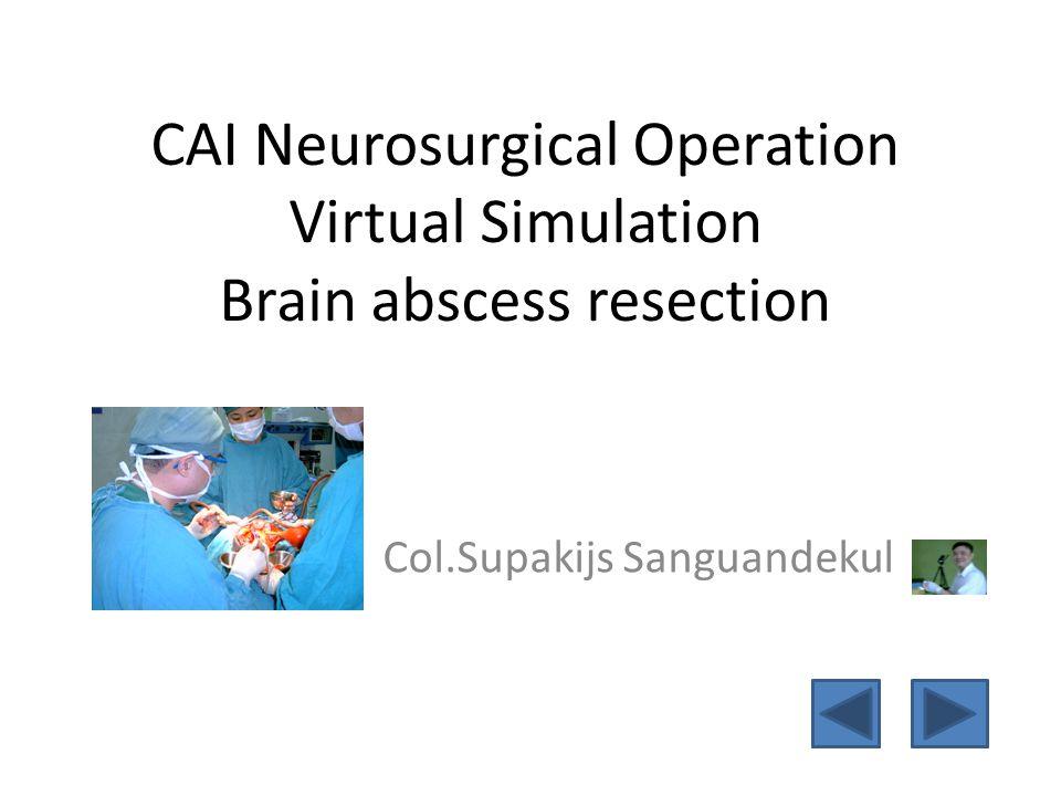 CAI Neurosurgical Operation Virtual Simulation Brain abscess resection Col.Supakijs Sanguandekul