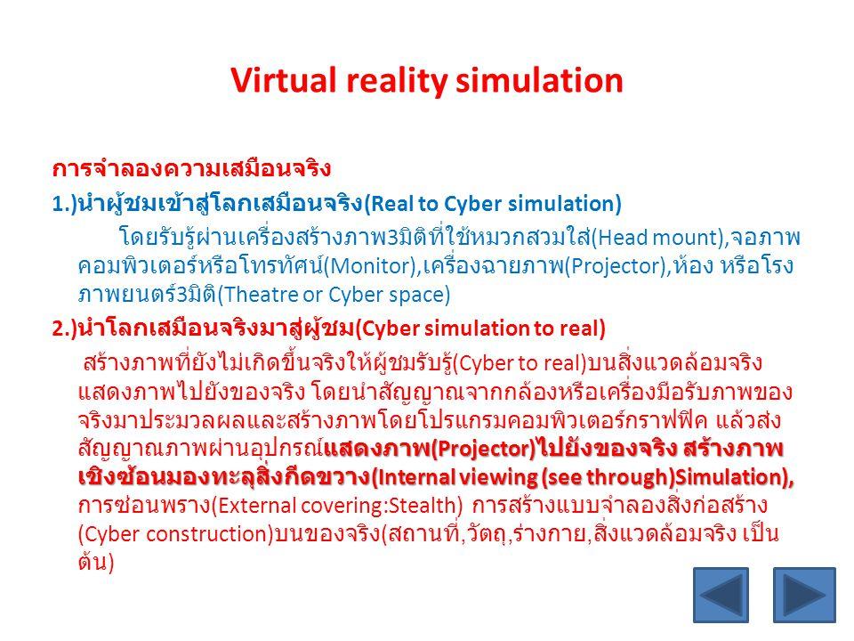 Virtual reality simulation การจำลองความเสมือนจริง 1.) นำผู้ชมเข้าสู่โลกเสมือนจริง (Real to Cyber simulation) โดยรับรู้ผ่านเครื่องสร้างภาพ 3 มิติที่ใช้หมวกสวมใส่ (Head mount), จอภาพ คอมพิวเตอร์หรือโทรทัศน์ (Monitor), เครื่องฉายภาพ (Projector), ห้อง หรือโรง ภาพยนตร์ 3 มิติ (Theatre or Cyber space) 2.) นำโลกเสมือนจริงมาสู่ผู้ชม (Cyber simulation to real) แสดงภาพ (Projector) ไปยังของจริง สร้างภาพ เชิงซ้อนมองทะลุสิ่งกีดขวาง (Internal viewing (see through)Simulation), สร้างภาพที่ยังไม่เกิดขึ้นจริงให้ผู้ชมรับรู้ (Cyber to real) บนสิ่งแวดล้อมจริง แสดงภาพไปยังของจริง โดยนำสัญญาณจากกล้องหรือเครื่องมือรับภาพของ จริงมาประมวลผลและสร้างภาพโดยโปรแกรมคอมพิวเตอร์กราฟฟิค แล้วส่ง สัญญาณภาพผ่านอุปกรณ์แสดงภาพ (Projector) ไปยังของจริง สร้างภาพ เชิงซ้อนมองทะลุสิ่งกีดขวาง (Internal viewing (see through)Simulation), การซ่อนพราง (External covering:Stealth) การสร้างแบบจำลองสิ่งก่อสร้าง (Cyber construction) บนของจริง ( สถานที่, วัตถุ, ร่างกาย, สิ่งแวดล้อมจริง เป็น ต้น )