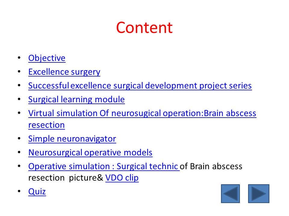 Objective Understanding of Excellence surgery Virtual reality simulation of neurosurgical procedure: Brain abscess resection Simple neuronavigator Neurosurgical operative models Neurosurgical technic :Brain abscess resection Neurosurgical skill training