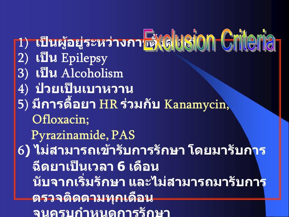 1) เป็นผู้อยู่ระหว่างการตั้งครรภ์ 2) เป็น Epilepsy 3) เป็น Alcoholism 4) ป่วยเป็นเบาหวาน 5) มีการดื้อยา HR ร่วมกับ Kanamycin, Ofloxacin; Pyrazinamide,