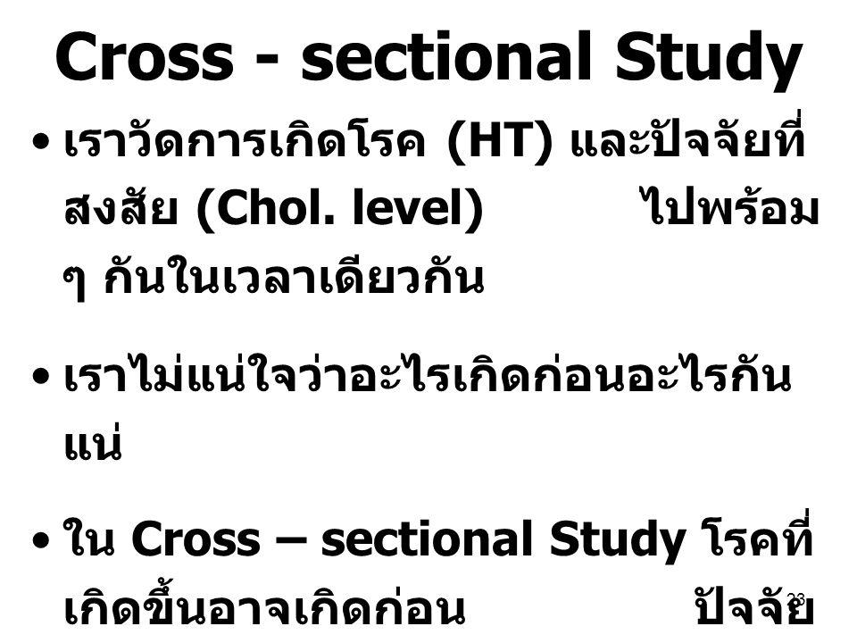 23 Cross - sectional Study เราวัดการเกิดโรค (HT) และปัจจัยที่ สงสัย (Chol. level) ไปพร้อม ๆ กันในเวลาเดียวกัน เราไม่แน่ใจว่าอะไรเกิดก่อนอะไรกัน แน่ ใน